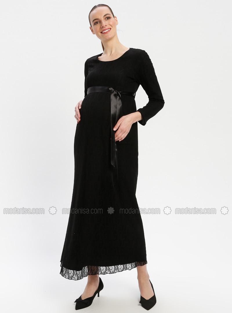 7acdde5126 Black - Crew neck - Fully Lined - Maternity Dress. Fotoğrafı büyütmek için  tıklayın