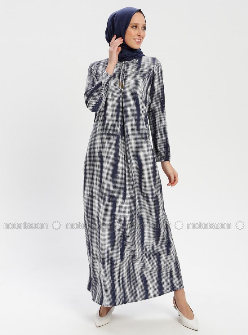 d8059fecebf39 Desenli A Pile Elbise - Lacivert