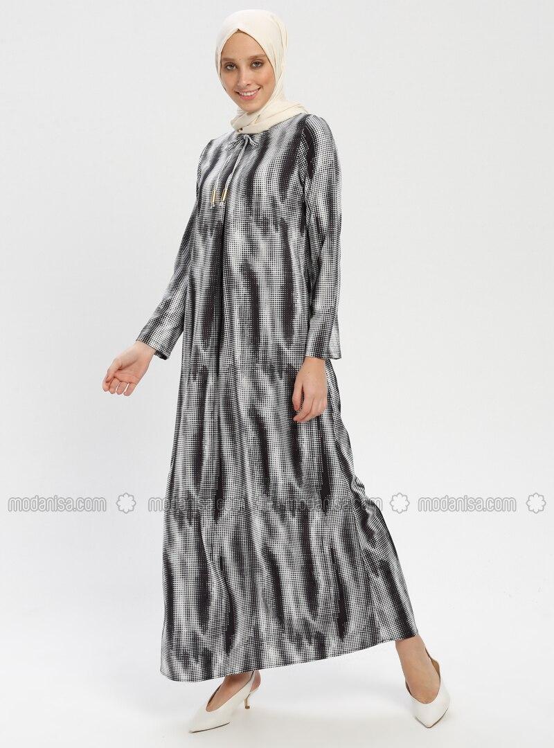 b0829eedfba71 Desenli A Pile Elbise - Siyah