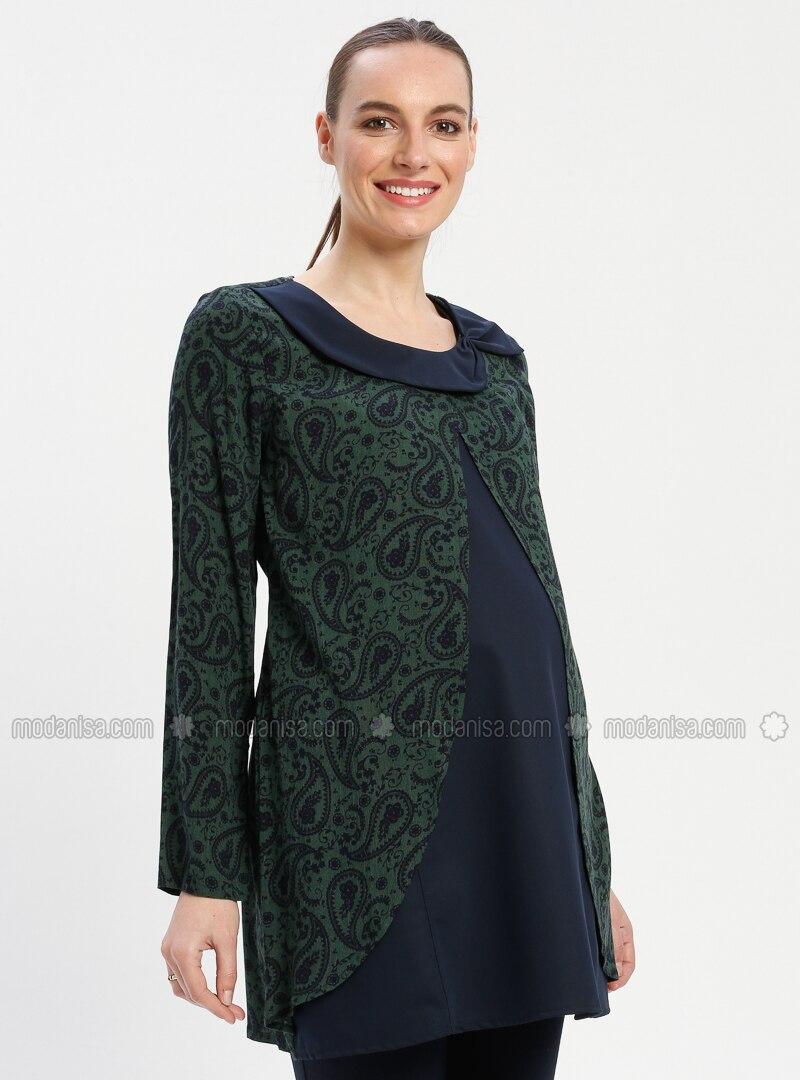 Green - Crew neck - Multi - Viscose - Maternity Tunic