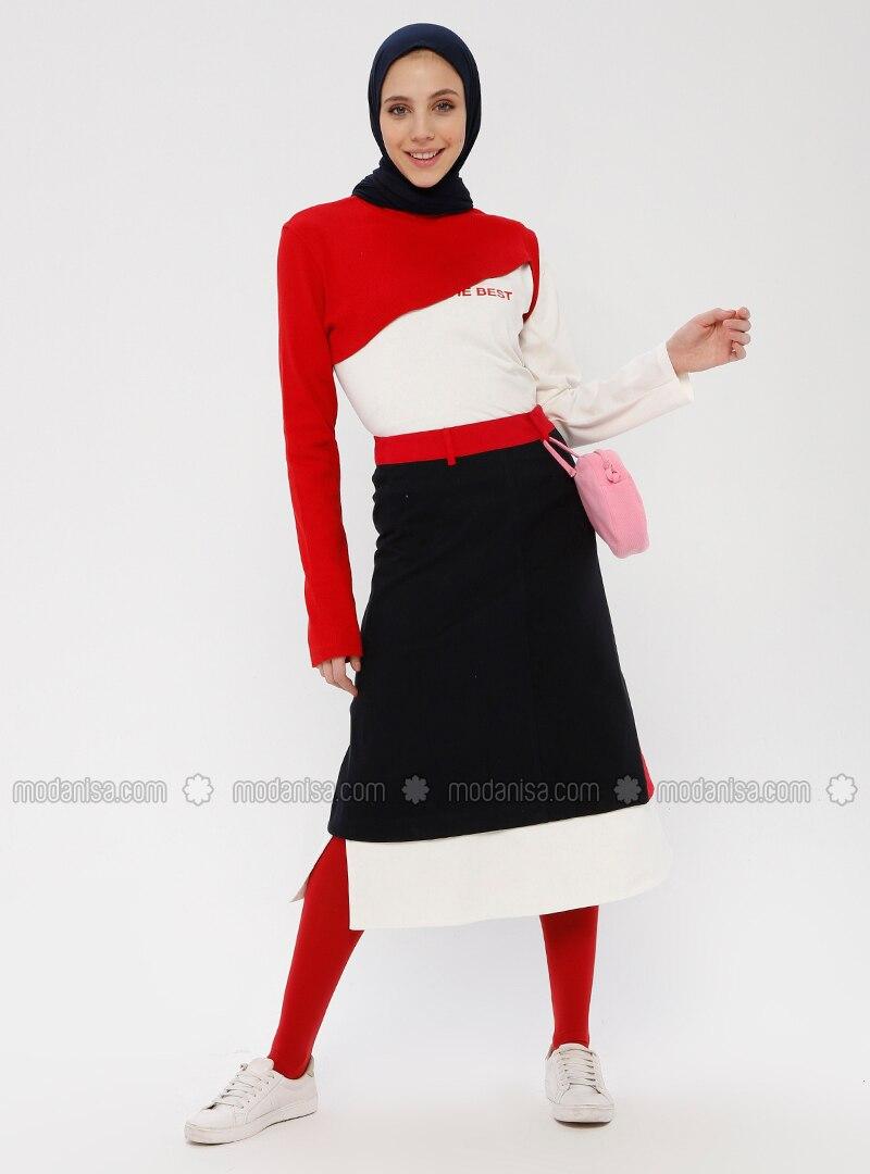 Navy Blue - Geometric - Multi - Unlined - Skirt