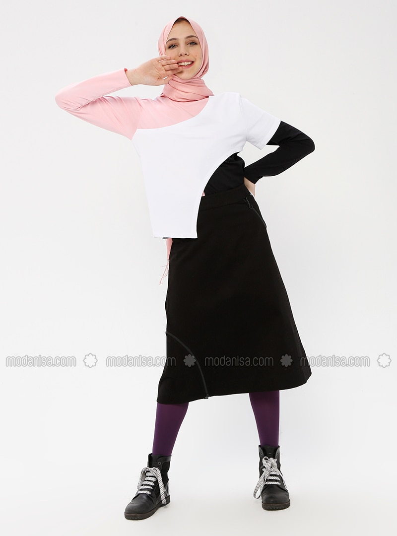 Black - Unlined - Cotton - Skirt