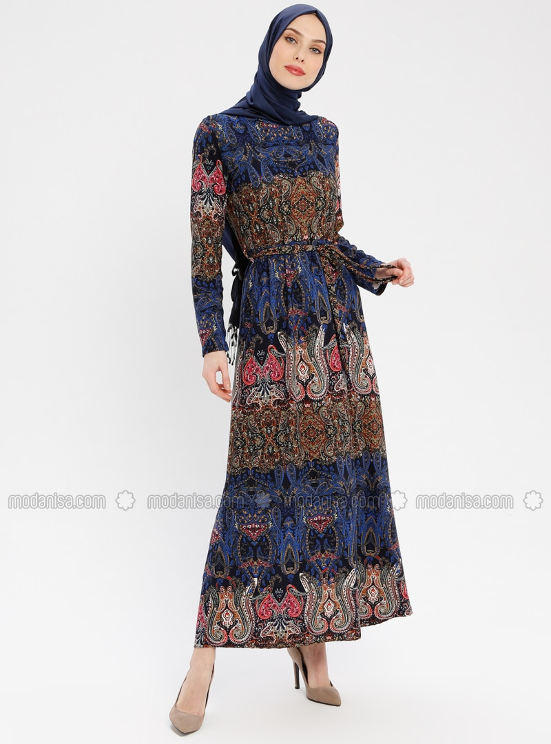 Blue - Multi - Crew neck - Unlined - Dress - ZENANE