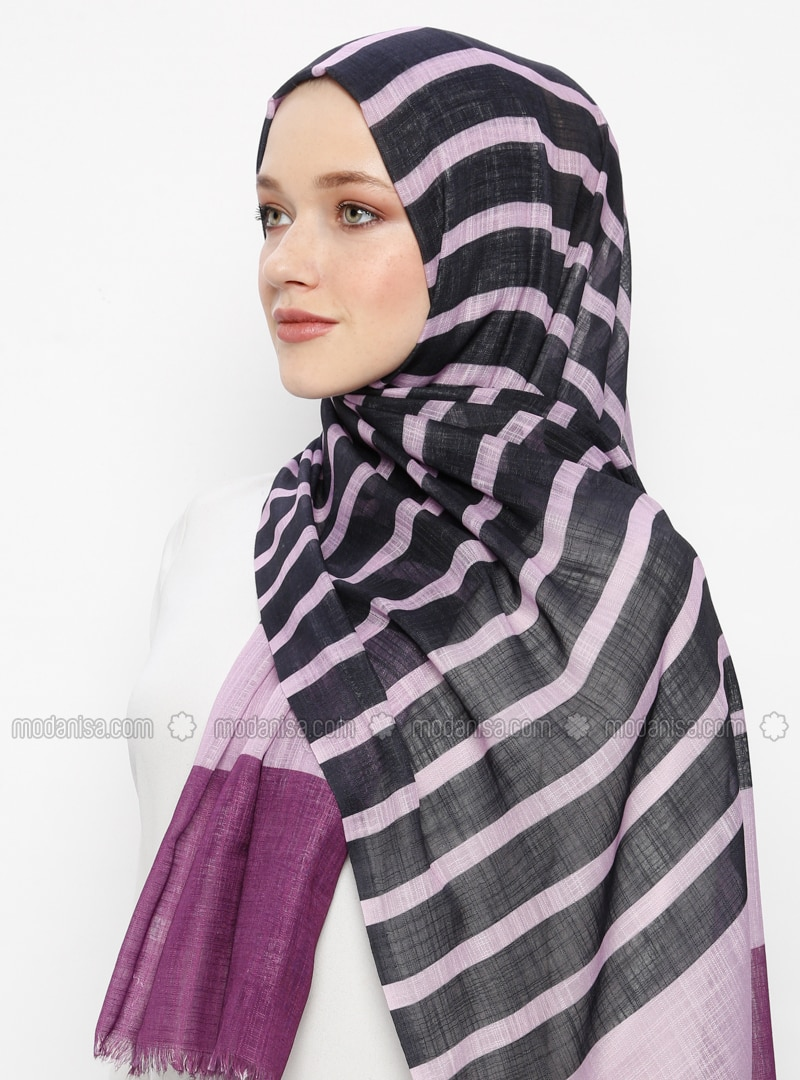 Purple - Striped - Pashmina - Viscose - Shawl