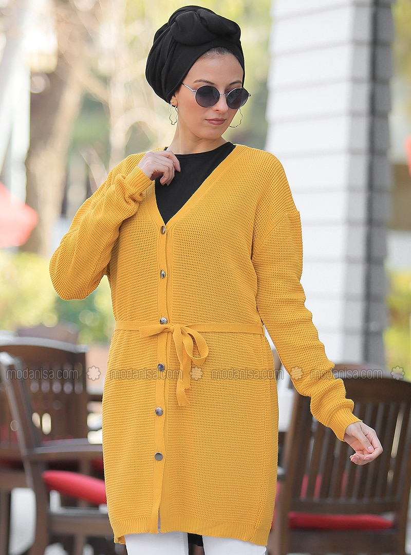 Mustard - V neck Collar - Cardigan