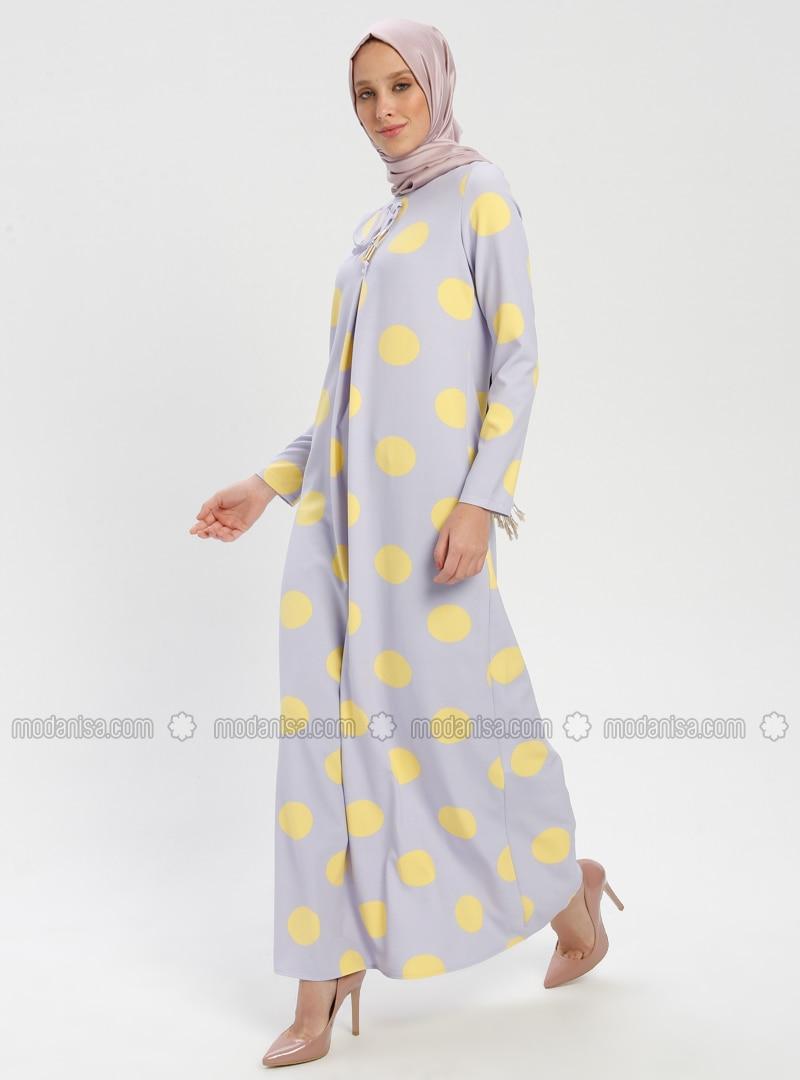 77b2f67ea3eae Puantiyeli Elbise - Lila Sarı