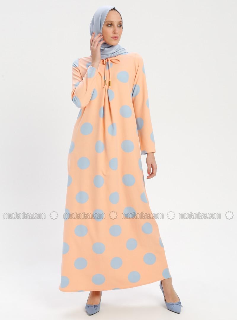 b144e2141559b Puantiyeli Elbise - Somon