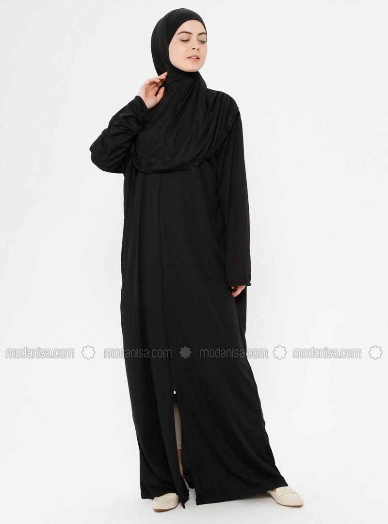 Siyah - Astarsız kumaş - Namaz kıyafeti