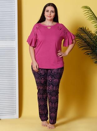Pink - Multi - Crew neck - Pyjama - Siyah inci