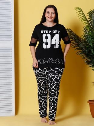 Black - White - Multi - Crew neck - Leopard - Pyjama - Siyah inci