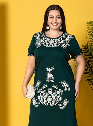 Green - Multi - Petrol - Crew neck - Unlined - Dress