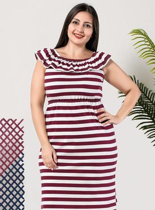 White - Multi - Maroon - Stripe - Boat neck - Unlined - Dress