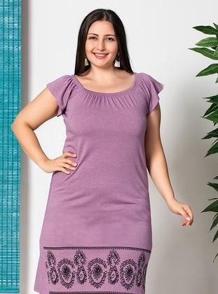 Black - Multi - Lilac - Ethnic - Crew neck - Boat neck - Unlined - Dress