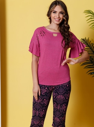 Multi - Crew neck - Multi - Cotton - Pyjama - Siyah inci
