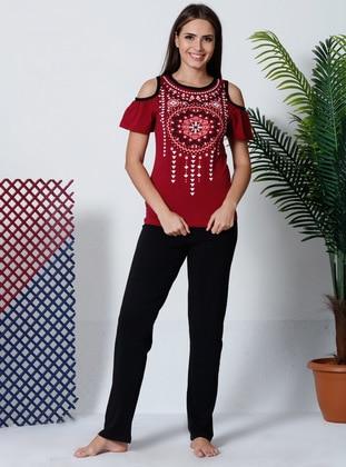 Multi - Maroon - Pyjama