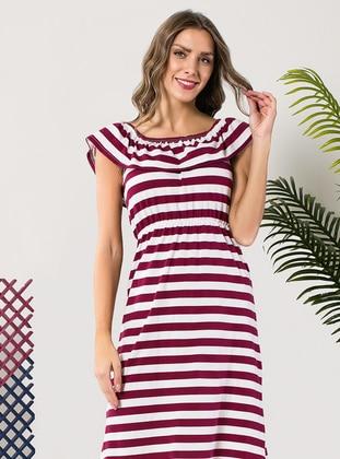 White - Multi - Maroon - Stripe - Dress
