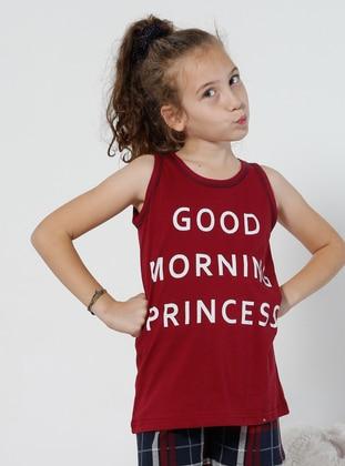 Multi - Maroon - Kids Pijamas