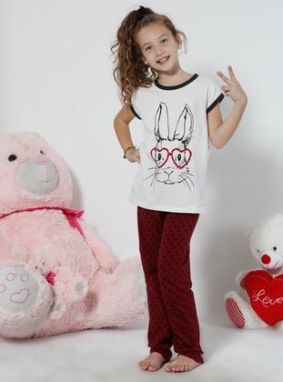 White - Multi - Maroon - Kids Pijamas - Siyah inci