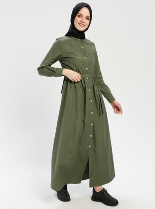 Khaki - Point Collar - Dress
