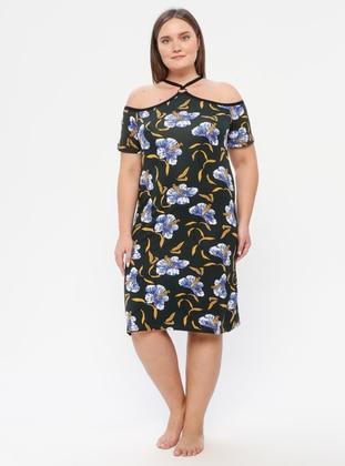 Blue - Black - Multi - Floral - V neck Collar - Unlined - Dress