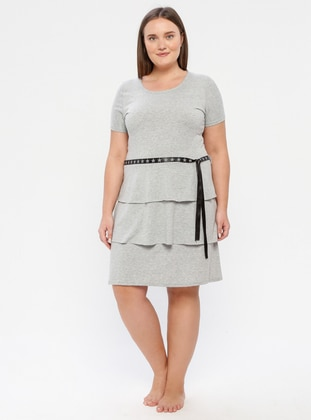 Gray - Multi - Crew neck - Unlined - Dress - Siyah inci