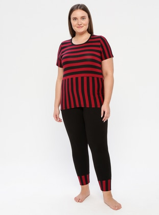 Black - Multi - Plum - Crew neck - Stripe - Pyjama