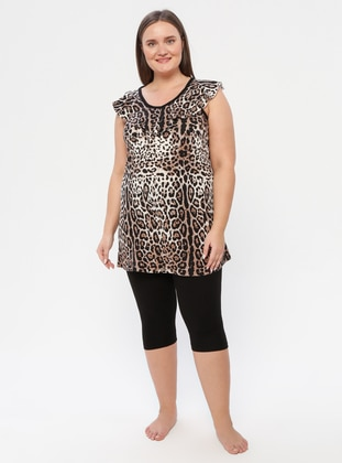Leopard - V neck Collar - Leopard - Pyjama