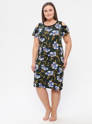 Blue - Black - Multi - Floral - Crew neck - Unlined - Dress