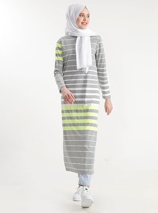 Gray - Stripe - Cotton - Dress