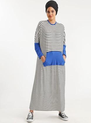 Navy Blue - Stripe - Viscose - Dress