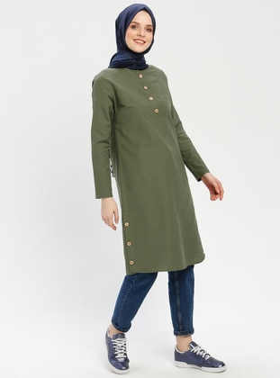 Khaki - Button Collar - Cotton - Tunic