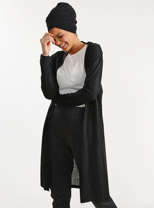 Black - Acrylic -  - Cardigan - PLİSTRE