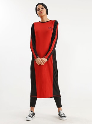 Red - Cotton - Dress