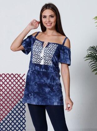 Multi - Boat neck - Multi - Cotton - Pyjama