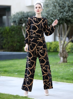 Black - Gold - Multi - Unlined - Crew neck - Jumpsuit - Selma Sarı Design