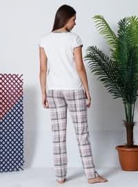 Beige - Multi - Crew neck - Plaid - Pyjama