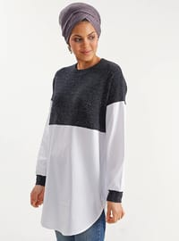 Navy Blue -  Metal Thread - Viscose - Tunic