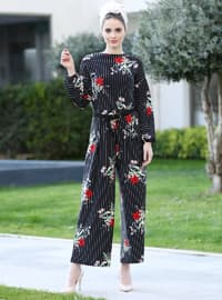Black - Maroon - Floral - Unlined - Crew neck - Jumpsuit