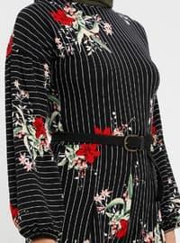 Black - Maroon - Floral - Unlined - Crew neck - Jumpsuit
