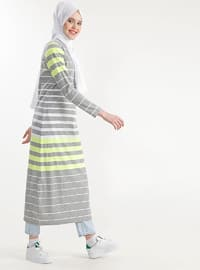 Gray - Stripe - Cotton - Dress