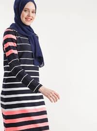 Navy Blue - Stripe - Cotton - Dress
