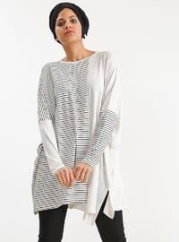 Ecru - Stripe - Viscose - Tunic