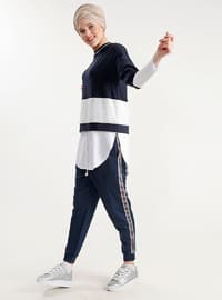 White - Navy Blue - Crew neck - Cotton - Tunic
