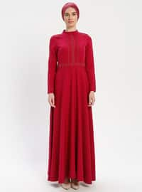 Coral - Unlined - Polo neck - Muslim Evening Dress