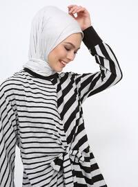 Black - Gray - Stripe - Crew neck - Tunic