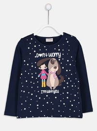 Navy Blue - Crew neck - Girls` T-Shirt