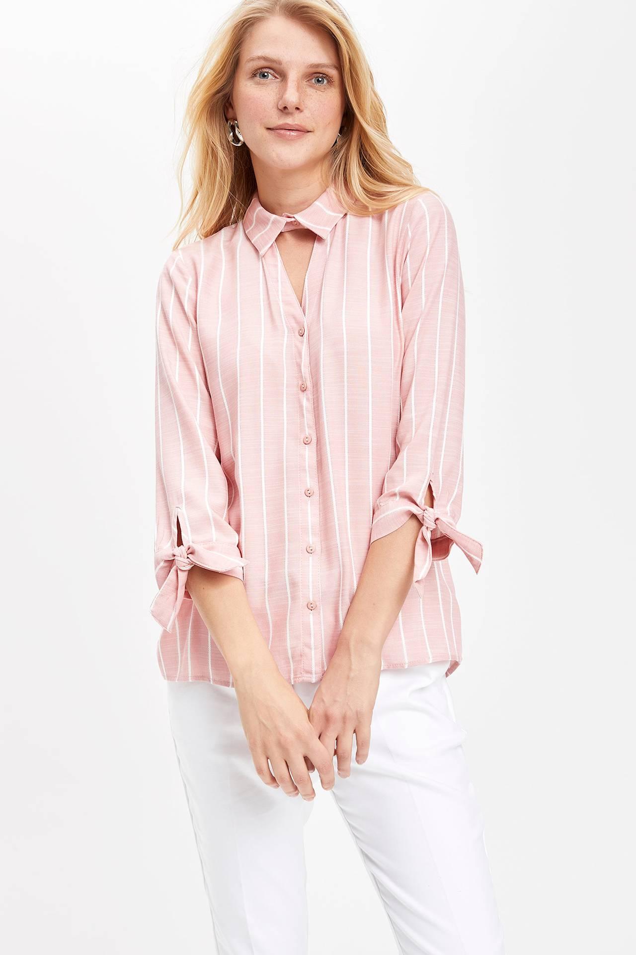 44 female Pembe Bluz Gömlek DeFacto