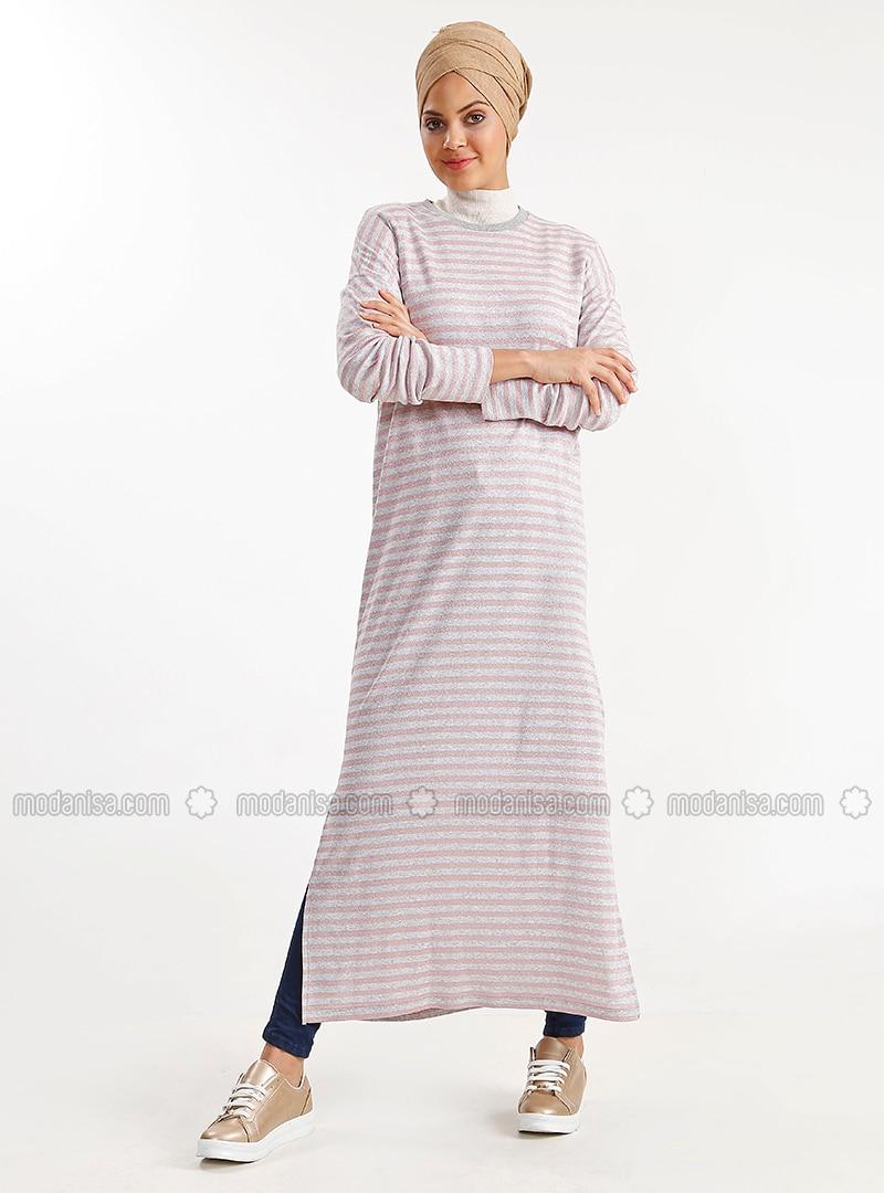 Pink - Stripe - Cotton - Tunic