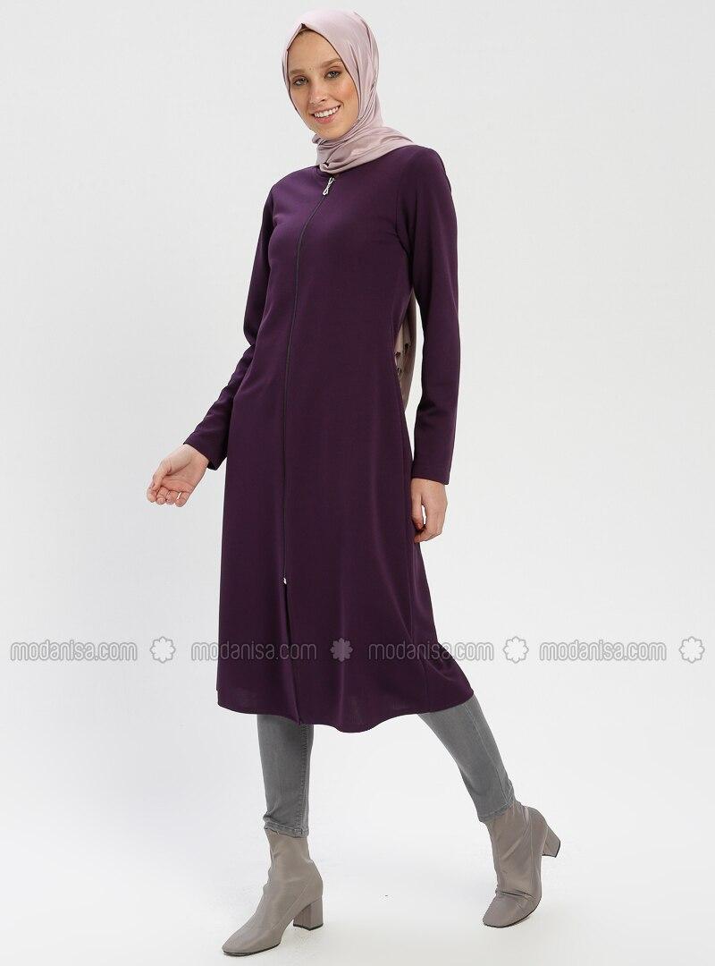Purple - Crew neck - Unlined - Topcoat - ZENANE