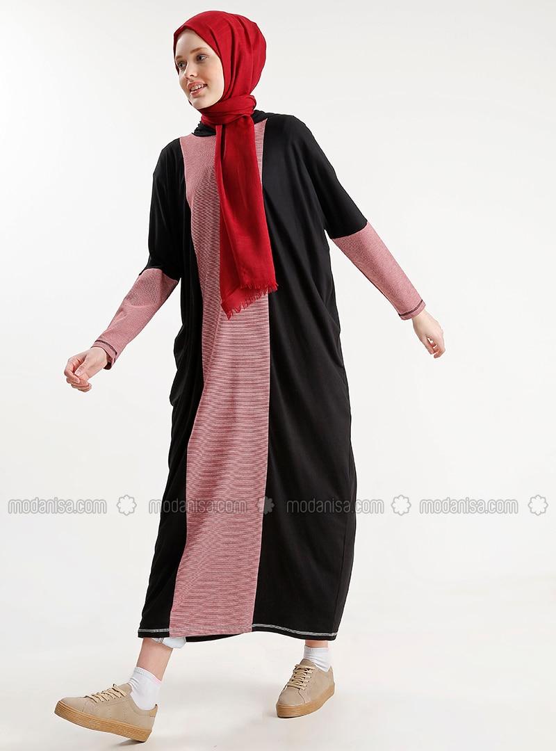 Red - Black - Crew neck - Dress